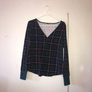La senza green plaid long sleeve shirt